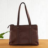 Leather tote shoulder bag, 'In Style in Chestnut' - Hand Crafted Brown Leather Tote Shoulder Bag