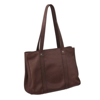 Hand Crafted Brown Leather Tote Shoulder Bag