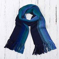 100% alpaca scarf, 'Evening Sky Stripes' - Multicolor Blue and Teal Striped 100% Alpaca Knit Scarf