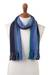 100% alpaca scarf, 'Evening Sky Stripes' - Multicolor Blue and Teal Striped 100% Alpaca Knit Scarf (image 2a) thumbail