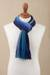 100% alpaca scarf, 'Evening Sky Stripes' - Multicolor Blue and Teal Striped 100% Alpaca Knit Scarf (image 2b) thumbail