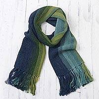 100% alpaca scarf, 'Seaside Stripes' - Multicolor Blue and Green Striped 100% Alpaca Knit Scarf