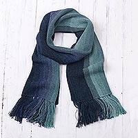 100% alpaca scarf, 'Ocean Stripes' - Shades of Blue and Green Striped 100% Alpaca Knit Scarf