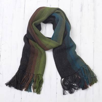 Men's 100% alpaca scarf, 'Selva Stripes' - Shades of Black Green Burgundy Blue 100% Alpaca Knit Scarf