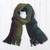 Men's 100% alpaca scarf, 'Selva Stripes' - Shades of Black Green Burgundy Blue 100% Alpaca Knit Scarf thumbail