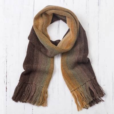 Mens 100% alpaca scarf, Cliffside Stripes