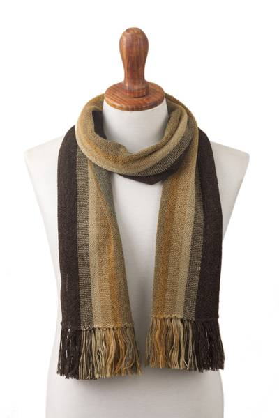 Men's 100% alpaca scarf, 'Cliffside Stripes' - Shades of Brown and Sage Green 100% Alpaca Knit Scarf