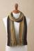 Men's 100% alpaca scarf, 'Cliffside Stripes' - Shades of Brown and Sage Green 100% Alpaca Knit Scarf (image 2b) thumbail