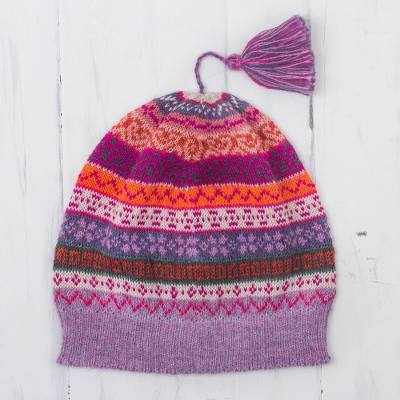 100% alpaca knit hat, 'Inca Blooms' - Lilac and Fuchsia and Milk White 100% Alpaca Knit Hat