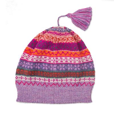 100% alpaca knit hat, 'Inca Blooms' - Lilac and Fuchsia and Milk White 100% Alpaca Knit Hat