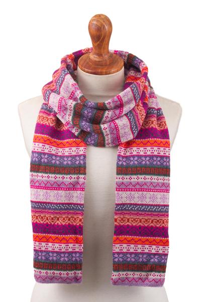 100% alpaca scarf, 'Inca Blooms' - Lilac and Fuchsia and White 100% Alpaca Knit Scarf