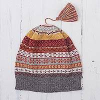 100% alpaca knit hat, 'Inca Countryside' - Burnt Sienna and Pink and Grey 100% Alpaca Knit Hat