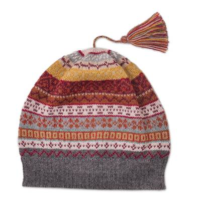 Burnt Sienna and Pink and Grey 100% Alpaca Knit Hat