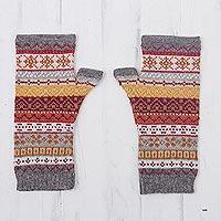 100% alpaca fingerless mitts, 'Inca Countryside' - Burnt Sienna Multicolor 100% Alpaca Knit Fingerless Mitts