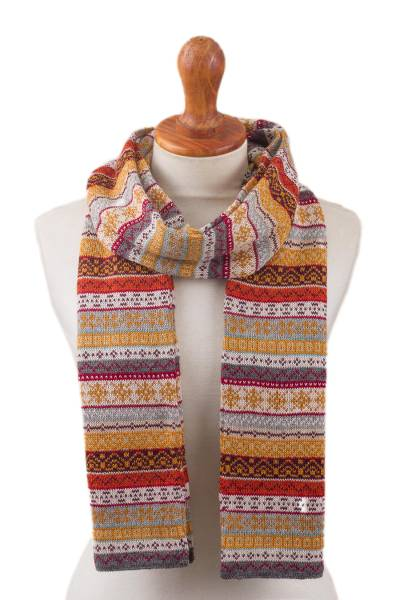 100% alpaca scarf, 'Inca Countryside' - Burnt Sienna and Pink and Grey 100% Alpaca Knit Scarf