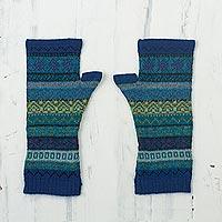 100% alpaca fingerless mitts, 'Sea Dreams' - Shades of Blue and Green 100% Alpaca Knit Fingerless Mitts