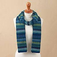 100% alpaca scarf, 'Inca Turquoise' - Striped 100% Alpaca Scarf in Blue and Green from Peru