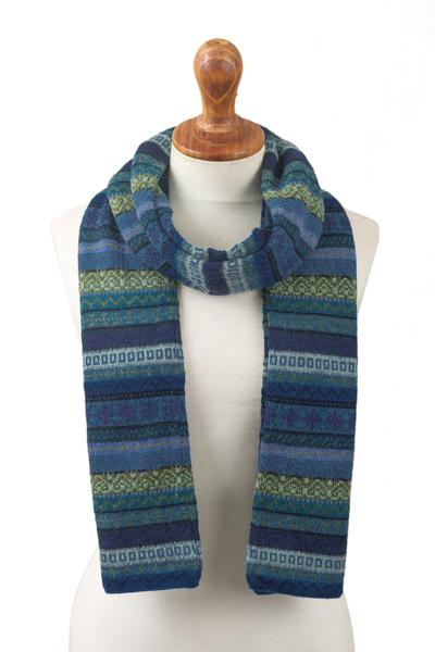 100% alpaca scarf, 'Inca Turquoise' - Striped 100% Alpaca Scarf in Blue and Green from Peru