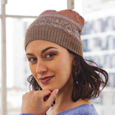 100% alpaca hat, 'Inca Earth' - Earth-Tone 100% Alpaca Knit Hat from Peru