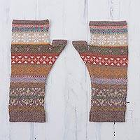 100% alpaca fingerless mitts, 'Inca Earth' - Earth-Tone 100% Alpaca Fingerless Mitts from Peru