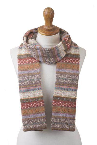 100% alpaca scarf, 'Inca Earth' - Earth-Tone 100% Alpaca Wrap Scarf from Peru
