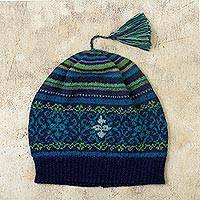 100% alpaca hat, 'Blue Turquoise' - Blue and Green Knit 100% Alpaca Hat from Peru