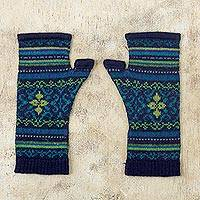 100% alpaca fingerless mitts, 'Blue Turquoise' - Blue and Green 100% Alpaca Fingerless Mitts from Peru