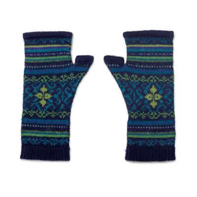 100% alpaca fingerless mitts, 'Blue Turquoise' - Blue and Green 100% Alpaca Fingerless Mitts from Peru