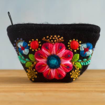 Embroidered alpaca blend coin purse, 'Paradise' - Hand Embroidered Black Alpaca Blend Coin Purse