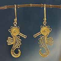Gold plated filigree earrings, 'Little Seahorse' - 24k Gold Plated Sterling Filigree Dangle Sea Horse Earrings
