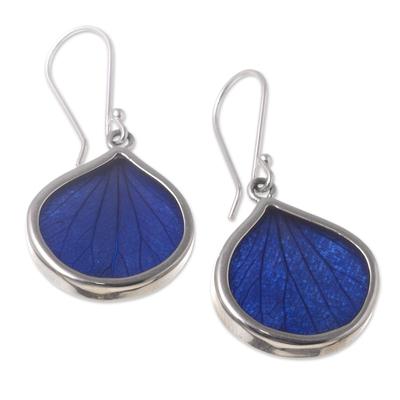 Andean Handmade Sterling Silver Blue Leaf Earrings