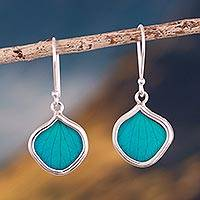 Natural leaf dangle earrings, Turquoise Leaf Drops