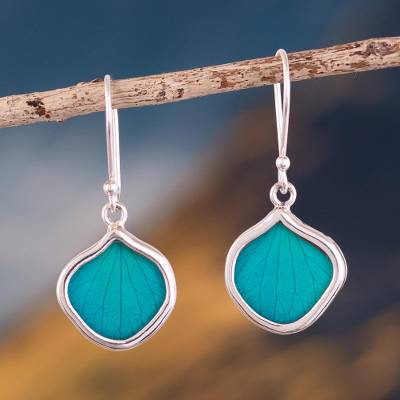 Natural leaf dangle earrings, 'Turquoise Leaf Drops' - Andean Handmade Sterling Silver Turquoise Leaf Earrings
