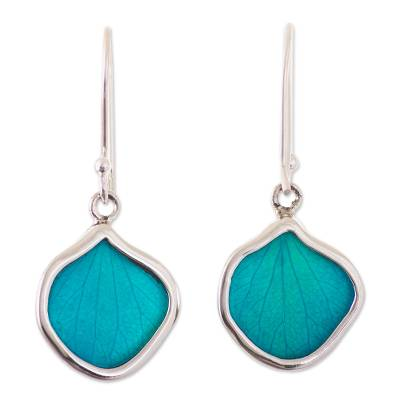 Andean Handmade Sterling Silver Turquoise Leaf Earrings