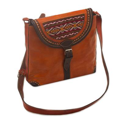 Hand Crafted Orange Leather Shoulder Bag with Wool Accent