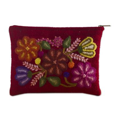 Hand Embroidered Wine Red Wool Cosmetic Bag