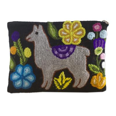 Llama Motif Black Wool Cosmetic Bag from Peru