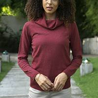 Women's turtleneck 'Fall Burgundy'  - Knit Cotton Blend Pullover in Solid Burgundy from Peru