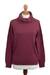 Women's turtleneck 'Fall Burgundy'  - Knit Cotton Blend Pullover in Solid Burgundy from Peru (image 2a) thumbail