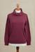 Women's turtleneck 'Fall Burgundy'  - Knit Cotton Blend Pullover in Solid Burgundy from Peru (image 2b) thumbail