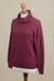 Women's turtleneck 'Fall Burgundy'  - Knit Cotton Blend Pullover in Solid Burgundy from Peru (image 2c) thumbail