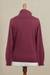 Women's turtleneck 'Fall Burgundy'  - Knit Cotton Blend Pullover in Solid Burgundy from Peru (image 2d) thumbail