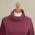 Women's turtleneck 'Fall Burgundy'  - Knit Cotton Blend Pullover in Solid Burgundy from Peru (image 2e) thumbail