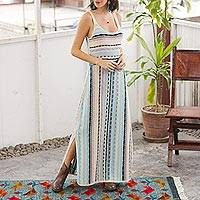 Knit cotton maxi dress, 'Bohemian Princess' - Cotton Knit Maxi Dress in Ivory and Pastel Stripes