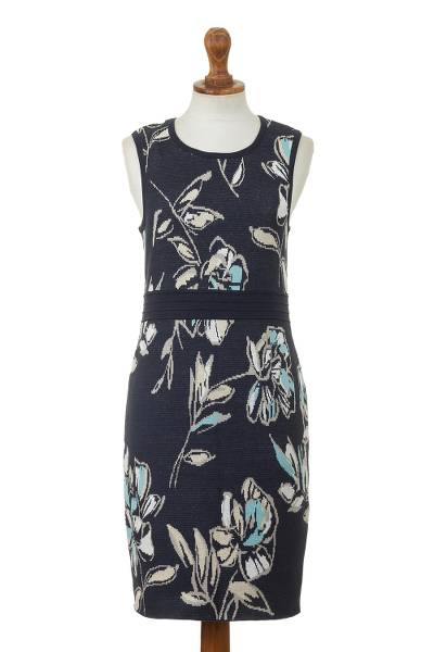 Soft Cotton Jacquard Knit Sheath Dress in Navy Floral