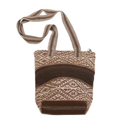 Backstrap Handwoven Brown Alpaca Blend Shoulder Bag