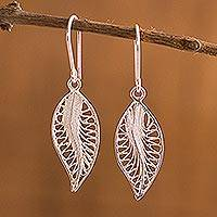 Silver filigree dangle earrings, 'Laurel Leaves' - Unique Fine Silver Catacaos Filigree Leaf Earrings from Peru