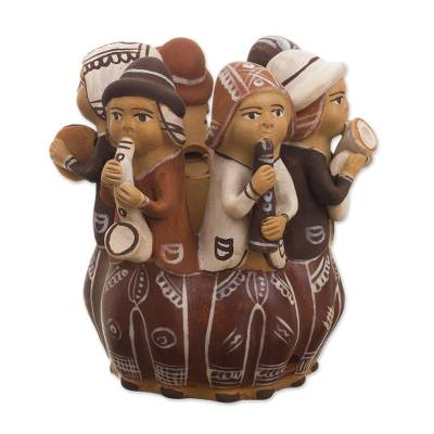 Handmade Ceramic Candleholder with Music Theme