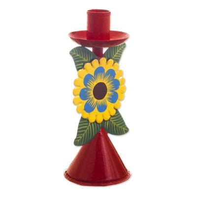 Hand Painted Recycled Metal Floral Candlestick
