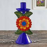 Recycled metal candlestick, 'Andean Flora in Royal' - Hand Painted Floral Metal Candlestick